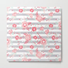Elli - gender neutral florals grey stripe pattern modern nursery home decor Metal Print