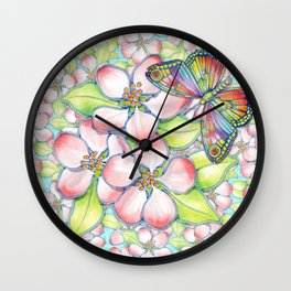 Rainbow Butterfly Blossoms Wall Clock