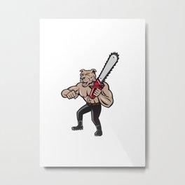 Dog Lumberjack Tree Surgeon Arborist Chainsaw Cartoon Metal Print