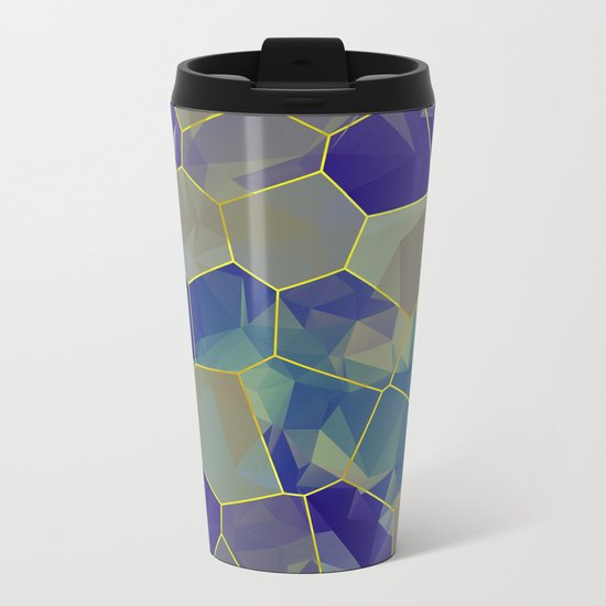 Stained Glass Polygons Metal Travel Mug