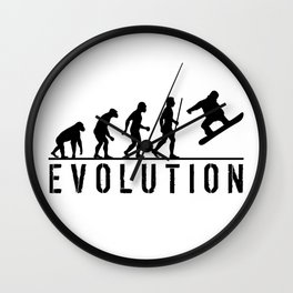 The Evolution Of Man And Snowboarding Wall Clock