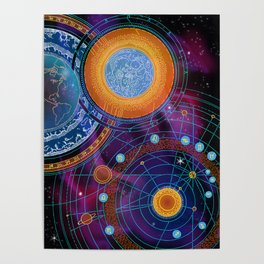 MOON AND PLANETS Poster