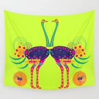 ostrich Wall Tapestries featuring Decorated ostrich by Design4u Studio