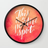 positive Wall Clocks featuring Positive by Raluca Ag