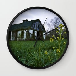Dilapidated Farm and Mustard Seed Wall Clock