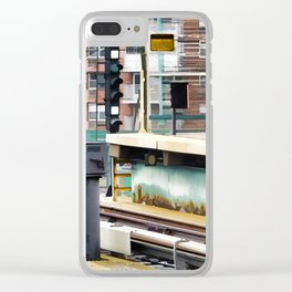 Railway station and semaphore Clear iPhone Case
