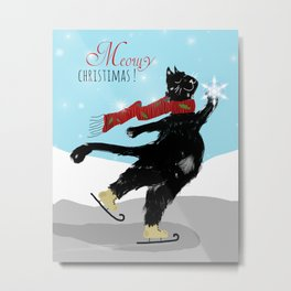 Black Cat Meowy Christmas Metal Print