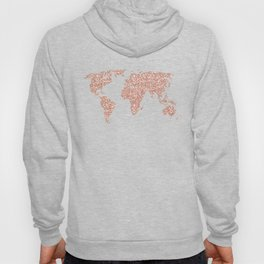 Rose Gold Glitter World Map on White Marble Hoody