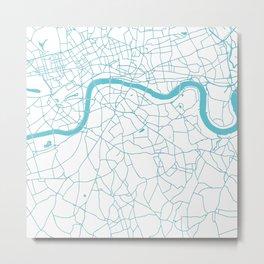 London White on Turquoise Street Map Metal Print