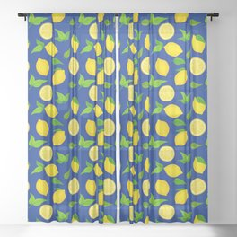 Summer Lemons Pattern - Yellow and Blue Palette Sheer Curtain