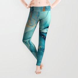 Abstract Turquoise Art Print By LandSartprints Leggings