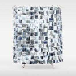 Indigo Crosshatch Pattern Shower Curtain