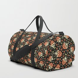Wild Strawberry Field , Woodcut Style Fruit Pattern Illustration Red on Black Duffle Bag
