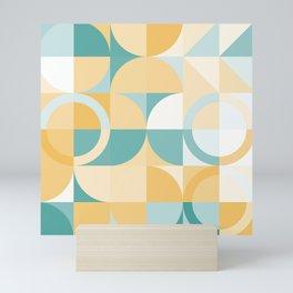 orange turquoise geometric Mini Art Print