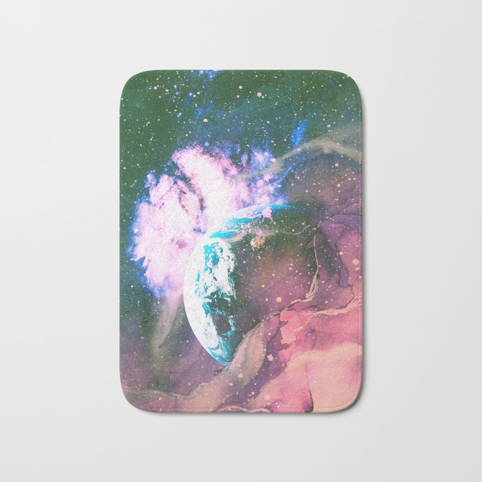 Space Earth Watercolor Bath Mat
