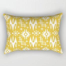 Mid Century Modern Atomic Space Age Pattern Mustard Yellow Rectangular Pillow