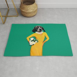 Stylish Lady dog in vintage dress. Contemporary art collage. Fun art Rug
