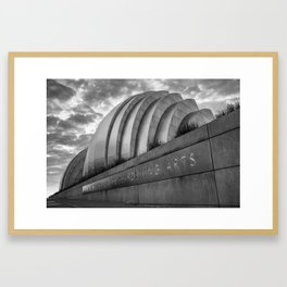 Kansas City Performing Arts Center with Perspective - Black and White Framed Art Print