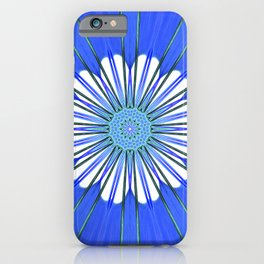White abstract flower with starburst rays forming an ornate center pattern in a blue universe  iPhone Case