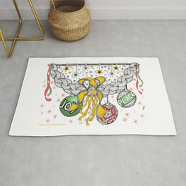 Zentangle Happy Holiday Swag for Peace, Love and Joy at Christmas Rug
