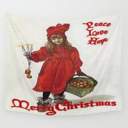Peace, Love and Hope at Christmas Wall Tapestry