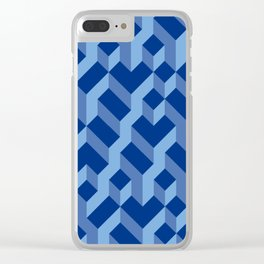 Blue Fresh Pattern Clear iPhone Case