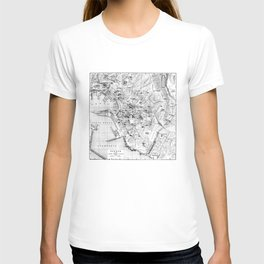 Vintage Map of Genoa Italy (1906) BW T-shirt
