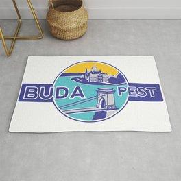 Budapest, Chain Bridge, sticker, blue, yellow Rug