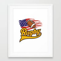 rugby Framed Art Prints featuring RUGBY by solomnikov
