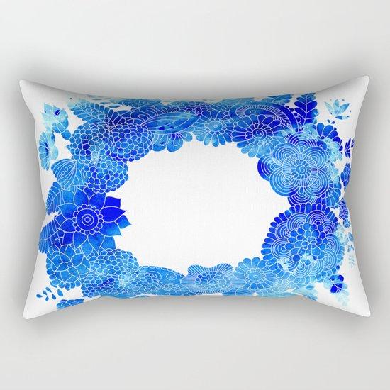 Blue Floral Pattern 01 Rectangular Pillow