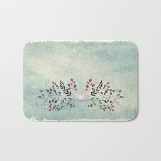 Diamond and flowers - Floral Flowers watercolor illustration Bath Mat