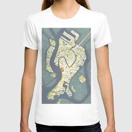 Venice city map antique T-shirt