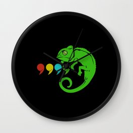 Chameleon Colorful Comma Reptiles Lizards Iguana Wall Clock