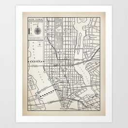 new york city vintage inspired street map art print
