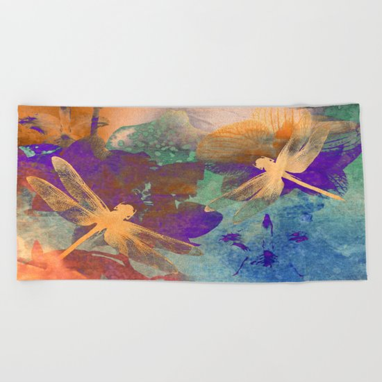 Orange Orange Dragonflies Beach Towel