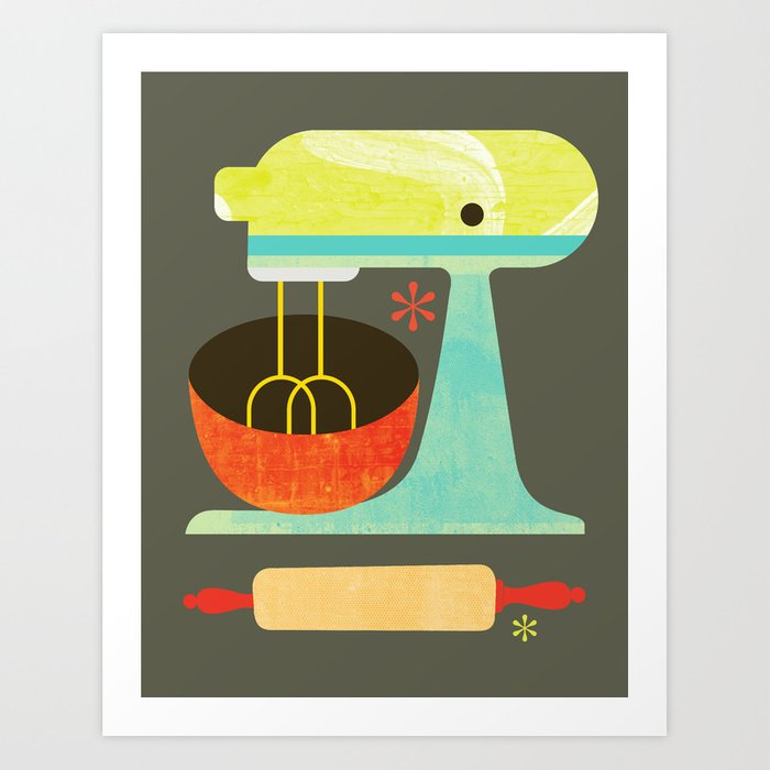 Kitchen Mix & Roll Art Print By Jimbrowski