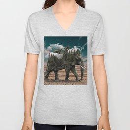 Surrealist elephant on a dry African landscape photo Unisex V-Neck