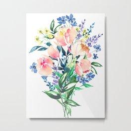 Bouquet flowers, floral aquarelle painting Metal Print