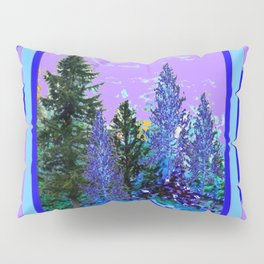 BLUE-LILAC WINTER SNOWFLAKE CRYSTALS FOREST ART DESIGN Pillow Sham