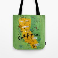 postcard Tote Bags featuring Postcard from California by Christiane Engel
