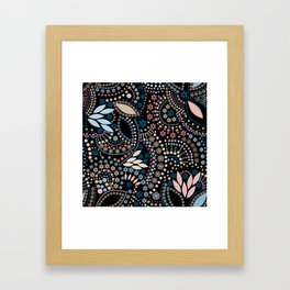 Abstract pattern with beads on black Framed Art Print