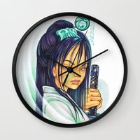 gemma correll Wall Clocks featuring Samurai by Gemma Pallat by ToraSumi