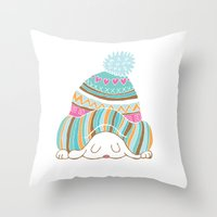 hat Throw Pillows featuring Hat by Samantha Eynon