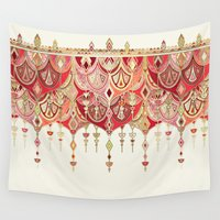 theatre Wall Tapestries featuring Royal Red Art Deco Double Drop by micklyn