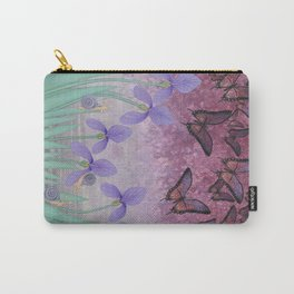 butterflies dance in purple skies above irises Carry-All Pouch