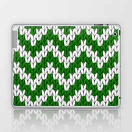 Green Christmas knitted chevron large scale Laptop & iPad Skin