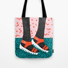 Kicks - throwback retro vintage 1980 1980's 80s 80's memphis bright neon colorful urban chic hipster Tote Bag