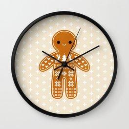 SWEATER PATTERN GINGERBREAD COOKIE Wall Clock