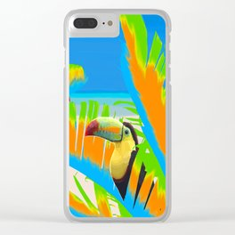 Colorful Toucans Tropical Banana Leaves Pattern Clear iPhone Case