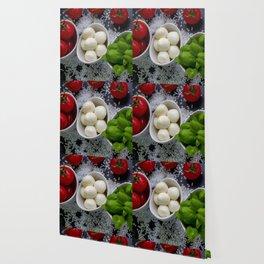 Trio of tomatoes basil fresh mozzarella Wallpaper